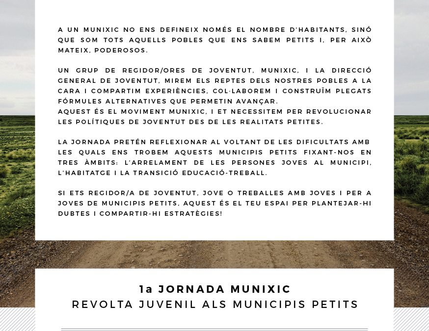 Jornada Munixic VIURE EL POBLE, VIURE AL POBLE I VIURE DEL POBLE